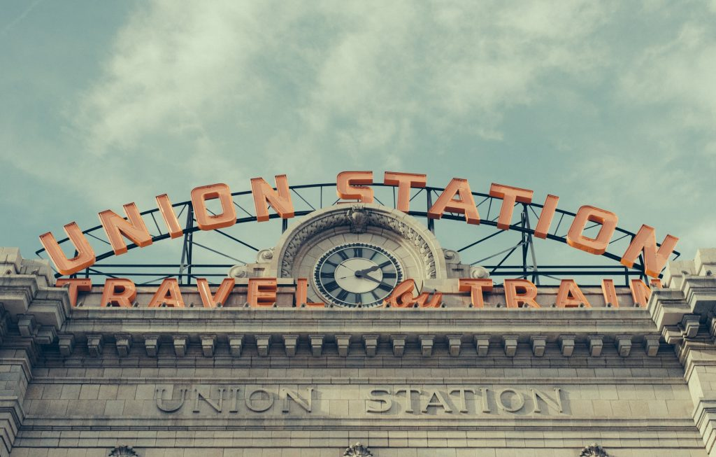 union station sign in downtown Denver