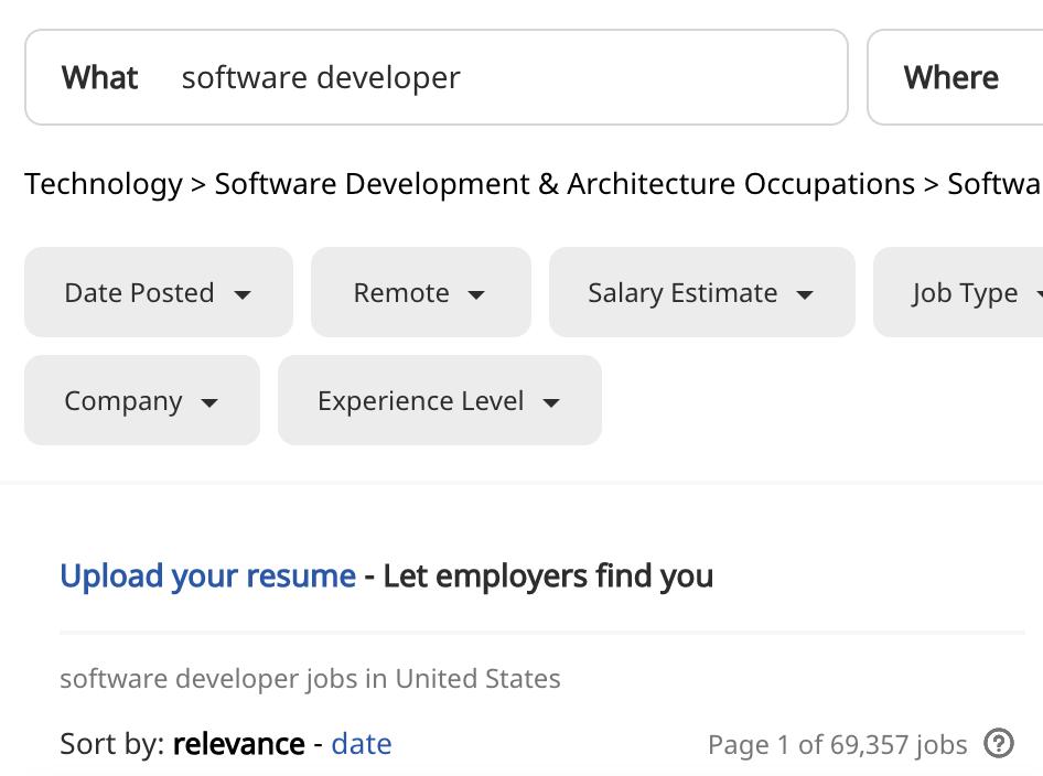 screenshot of software developer jobs in the us